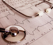 Medical test. Real cardiological test with stethoscope Royalty Free Stock Image