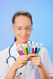 Medical test tubes with fluid sample Stock Image