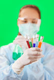 Medical test tubes sample in doctor's hand Royalty Free Stock Photography
