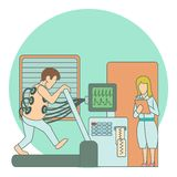 Medical testing person on treadmill concept Royalty Free Stock Images