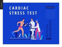 Medical tests Blue template - cardiac stress test. Modern flat vector concept digital illustration, stress test procedure -patient with sensors on treadmill royalty free illustration