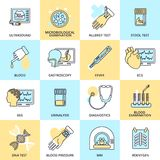 Medical tests icons flat line. Medical tested health care flat line icons set with ultrasound microbiological examination allergy test isolated vector Royalty Free Stock Images