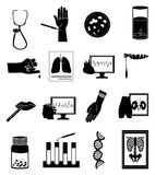 Medical tests icons set. In black Royalty Free Stock Image