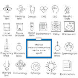 Medical tests and researches line icons. Popular medical tests and clinical researches vector outline icons set. Design elements for web pages, brochures, flyers Stock Images
