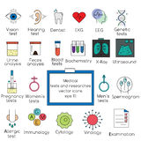 Medical tests and researches icons. Vector illustration. Popular medical tests and clinical researches vector icons set.  design elements for web pages Stock Images