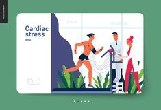 Medical tests template - cardiac stress test. Modern flat vector concept digital illustration of stress test procedure -patient with sensors on treadmill and vector illustration