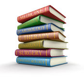 Medical textbooks (clipping path included) Stock Photos