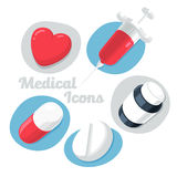 Medical Theme Icons Set Isolated on White Background. (Heart, Pills, Syrup, Syringe). Stock Photos