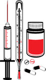 Medical thermometer, syringe and vial with pills Royalty Free Stock Photography