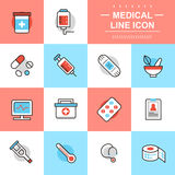 Medical thin line icons Royalty Free Stock Photo