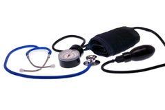 Medical tonometer and stethoscope. It is isolated on white background Royalty Free Stock Photo