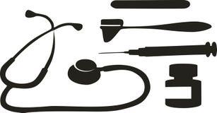 Medical tool. Set in black vector illustration