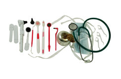 Medical tools. Medical stethoscope, mask, scopes, small tools for personal hygiene, Silver apple with a silver metal leaf texture Stock Images