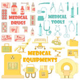 Medical tools equipment icons set, cartoon style Stock Photography
