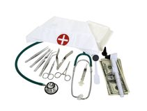 Medical tools and funds Stock Image