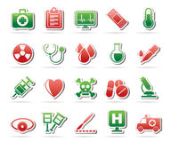 Medical tools and health care equipment icons Royalty Free Stock Photos