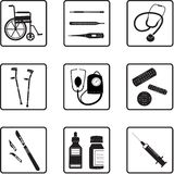 Medical tools and icons. Medical tools silhouettes in black and white Stock Images