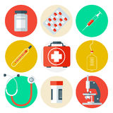 Medical Tools Icons Set. Medical Background with Health Care Stuff Stock Image