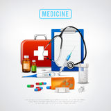 Medical Tools Kit Background. Medical realistic background with first aid box thermometer binaural stethoscope pills vials and syringe with text vector Stock Image
