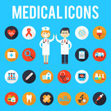 Medical tools and medical staff flat icons Stock Image
