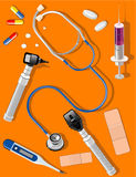 Medical tools and supplies. Illustration of different medical tools and supplies including otoscope, ophthalmoscope Stock Image