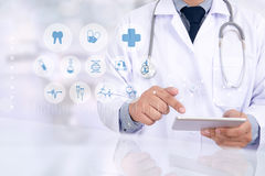Medical, touch, doctor. royalty free stock image