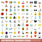 100 medical training icons set, flat style. 100 medical training icons set in flat style for any design vector illustration Royalty Free Stock Photos