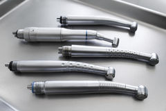 Medical tray with dental turbine handpieces Stock Photography