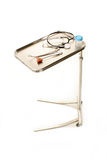 Medical tray on white. Full view of stainless steel tray with medical supplies Royalty Free Stock Images