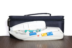 Medical treatment bag. Auto injector medical treatment for insulin and diabetes stock photos
