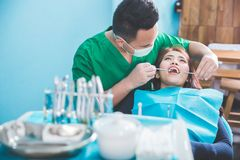 Medical treatment at the dentist office Stock Photography