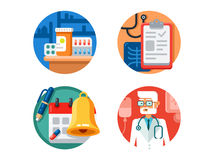 Medical treatment and examination. Medicine pills doctor with stethoscope. Vector illustration vector illustration