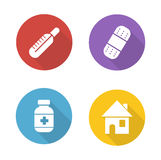 Medical treatment flat design icons set Stock Images