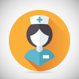 Medical Treatment Nurse Symbol Female Physician. Icon with long shadow on Stylish Background Modern Flat Design Vector Illustration Royalty Free Stock Image