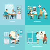 Medical Treatment Square Composition. With patients visiting different doctors for diagnostic procedures and examination vector illustration Stock Images