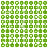 100 medical treatmet icons hexagon green. 100 medical treatmet icons set in green hexagon isolated vector illustration Stock Image