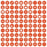 100 medical treatmet icons hexagon orange. 100 medical treatmet icons set in orange hexagon isolated vector illustration Royalty Free Stock Photography
