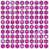 100 medical treatmet icons hexagon violet. 100 medical treatmet icons set in violet hexagon isolated vector illustration stock illustration