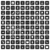 100 medical treatmet icons set black. 100 medical treatmet icons set in black color isolated vector illustration Royalty Free Stock Image