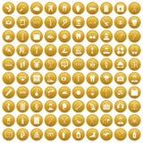 100 medical treatmet icons set gold. 100 medical treatmet icons set in gold circle isolated on white vectr illustration Stock Photos