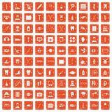 100 medical treatmet icons set grunge orange. 100 medical treatmet icons set in grunge style orange color isolated on white background vector illustration Stock Images