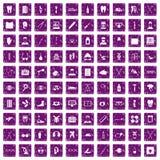 100 medical treatmet icons set grunge purple. 100 medical treatmet icons set in grunge style purple color isolated on white background vector illustration Stock Photo