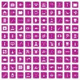 100 medical treatmet icons set grunge pink. 100 medical treatmet icons set in grunge style pink color isolated on white background vector illustration Stock Images