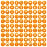 100 medical treatmet icons set orange. 100 medical treatmet icons set in orange circle isolated vector illustration Royalty Free Stock Photos
