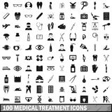 100 medical treatmet icons set, simple style. 100 medical treatmet icons set in simple style for any design vector illustration Royalty Free Stock Images