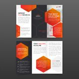 Pharmaceutical brochure tri fold template Layout with icons set. stock illustration