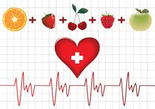 Medical vector. Fruit and heart, medical vector Royalty Free Illustration