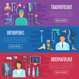 Medical vector banners orhtopedics, traumatology Royalty Free Stock Image