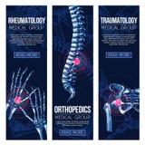 Medical vector banners rheumatology traumatology Stock Images