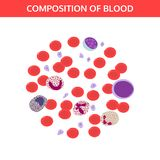 Blood drop in microscope, blood cells. royalty free illustration